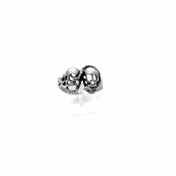 Ασημένιο Δαχτυλίδι Νεκροκεφαλές